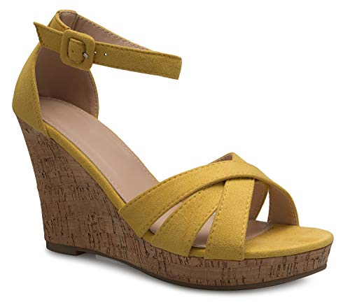 - OLIVIA K Women's Open Toe T-Straps Strappy High Wedge Heel Wood Decoration Buckle Shoes Sandals