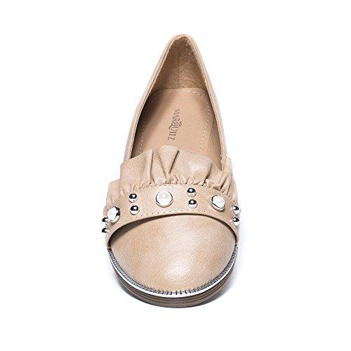 Ideal Shoes, Damen Slipper & Mokassins Beige