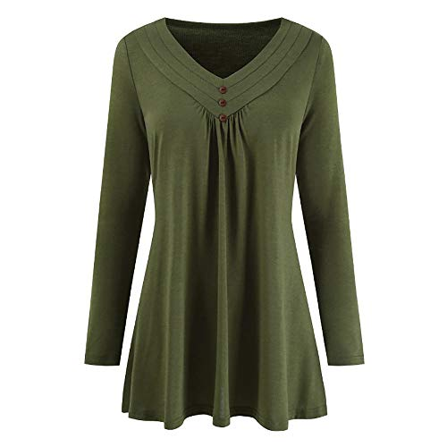 Sunhusing Women's Loose V-Neck Buckle-Down Casual Solid Long Sleeve Pleated Shirts Tops -