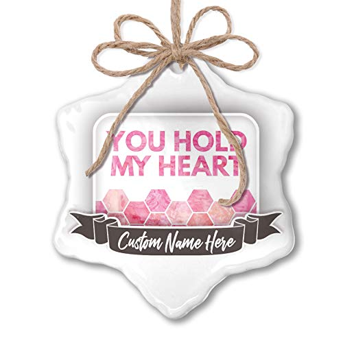 NEONBLOND Create Your Ornament You Hold My Heart Mother's Day Watercolor Honeycomb Pink ()