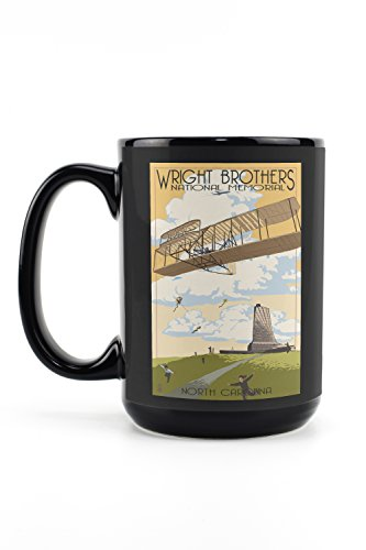 Wright Brothers First Flight Memorial (Outer Banks, North Carolina - Wright Brothers National Memorial (15oz Black Ceramic Mug - Dishwasher and Microwave Safe))