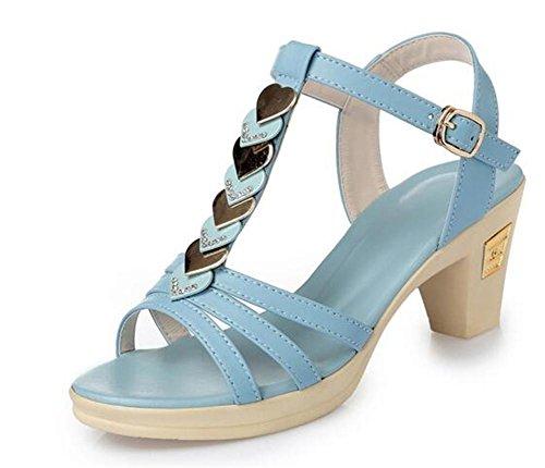 YEEY Sandalias de verano abierto Toe PU zapatos de tacón alto para las mujeres trabajo Club banquete de compras cómodo Light Blue