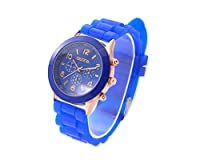 Shopready Geneva Jelly Silicone Rubber Water Resistant Men Women Teen Boys Girls Unisex Trendsetter Quartz Analog Sports Wrist Watch - Blue by Shopready