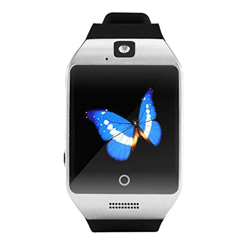 "Feccoe 1.54""Inch Q18S Smart Bluetooth Watch GSM Camera TF Card Wristwatch for iPhone Samsung (Silver)"