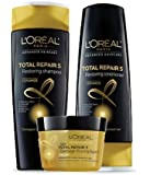 L'Oreal Total Repair 5 Restoring Shampoo, Restoring Conditioner and Damage-Erasing Balm (Set of 3)