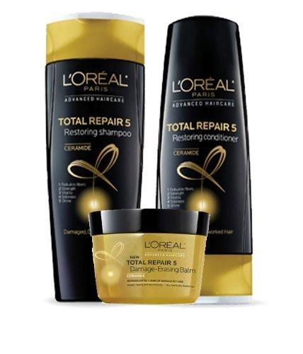 L'Oreal Total Repair 5 Restoring Shampoo 12.6 fl oz, Restoring Conditioner 12.6 fl oz and Damage-Erasing Balm 8.5 fl oz (Set of 3)