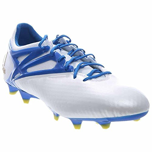 adidas Mens Messi 15.1 FG/AG Firm Ground/Artificial Grass Soccer Cleats 10 US, White/Prime Blue/Black