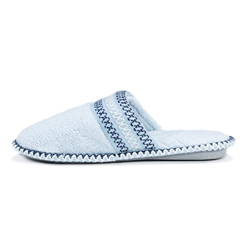 MUK LUKS Womens Cathy Micro Chenille Closed Toe Slipper Sea Blue iAxCg
