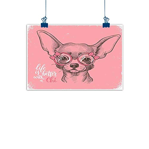 - Canvas Prints Wall Art Dog,Girl Chihuahua Sketch Illustration with Quote Fashion Glasses Ribbons Puppy,Pale Pink Army Green for Boys Room Baby Nursery Wall Decor Kids Room Boys Gift 36