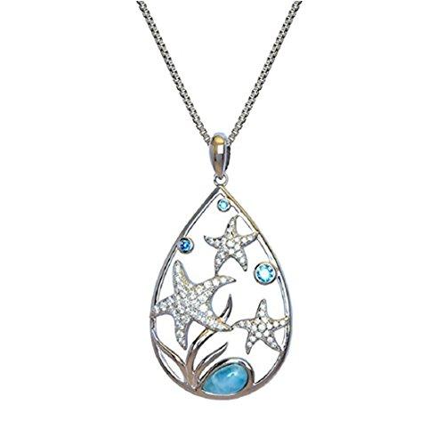 Sterling Silver 925 Pave CZ Starfish Sea Life Natural Larimar Teardrop Pendant Necklace ()