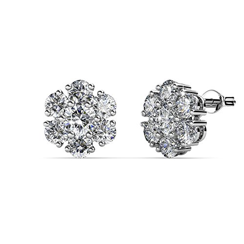 Amazon Day Prime - Cate & Chloe Maggie Pure White Gold Stud Earrings, 18k Gold Plated Studs with Swarovski Crystal Flower Cluster, Silver Stud Earring Set with Round Cut Crystals