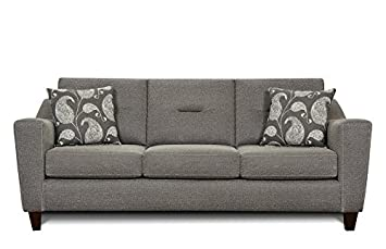 Chelsea Home Furniture Bianca Sofa, Apex Cinder With Gallo Ink Pillows