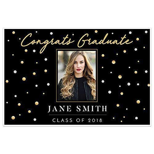 Gold and Black Class of 2019 Photo Graduation Banner Personalized -