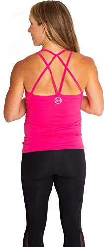 movemama Maternity to Postpartum Workout and Yoga Top with Cross Back Detail, Shelf Bra and Removable Padding (Pink, Extra Large) by movemama (Image #3)