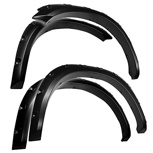 Tyger Auto Black Textured TG-FF8D4148 for 2009-2018 Dodge 2019 Ram 1500 Classic | Exclude R/T & Rebel Models | Paintable Smooth Matte Pocket Bolt-Riveted Style Fender Flare Set, 4 Piece