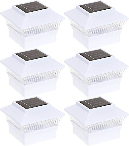 GreenLighting 6 Pack Solar Power Square Outdoor Post Cap Lights for 4x4 PVC Posts (White)
