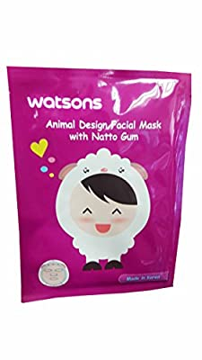 2 Mask Sheets of Watsons Animal Design Facial Mask with Natto Gum. Applying facial mask can be super fun with various skincare benefits. (23 ml essence/ sheet.)