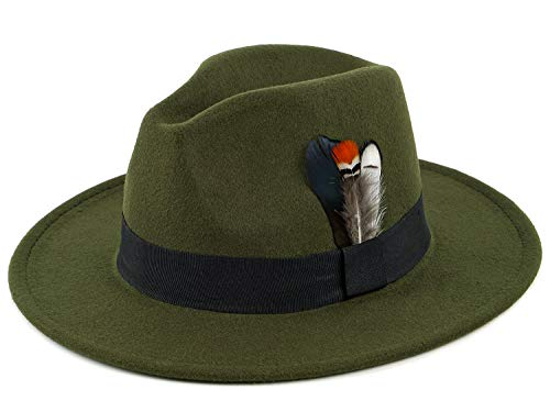 (Wool Fedora Retro Style Wide Brim Hat Trilby Hat with Feather for Men and Women Green)