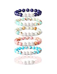 Adramata 6Pcs Lava Rock Stone Aromatherapy Essential Oil Diffuser Bracelet for Women Girls Natural Gemstone Healing Crystal Bracelet