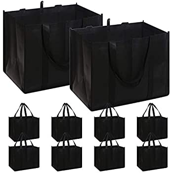 Grey Reusable Grocery Bags 3 Pack,WiseLife Large Shopping Bags Durable Collapsible Foldable Tote Bags Storage Boxes Bins Cubes for Groceries Clothes Books Reinforced with Long Handles