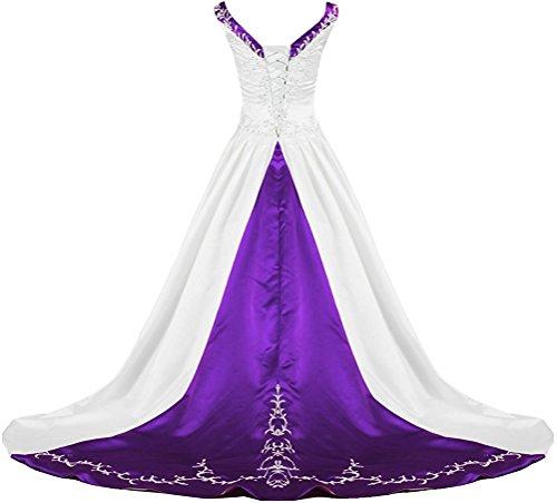 (APXPF Women's V Neck Satin Embroidery Wedding Dress for Bride Chapel Train White and Purple US26)