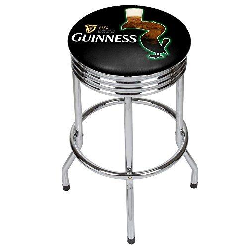 Trademark Gameroom Guinness Chrome Ribbed bar Stool - Feathering