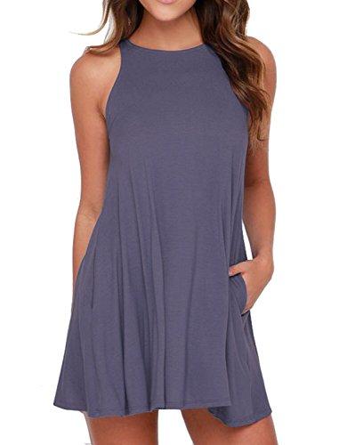 HiMONE Women's Sleeveless Dress Pockets Casual Swing T-Shirt Dresses Purple Gray Medium