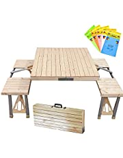 STONCEL Portable Folding Picnic Table for 4 Seats with Seating,Outdoor Portable Folding Table Set for Camping,Picnic,BBQ,Party and Dining
