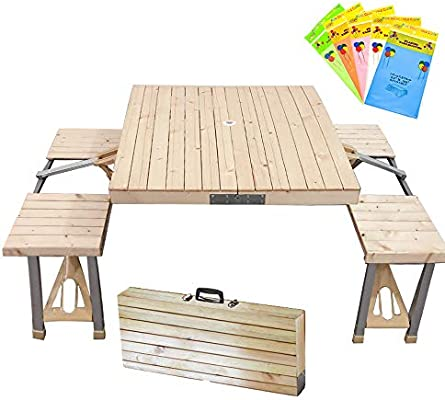 Stoncel Folding Table And Chairs Set Portable Picnic Table With 4 Seats For Outdoor Camping Picnic Bbq Party And Dining Wooden Amazon Ae
