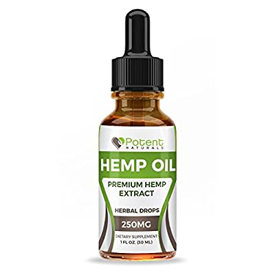 Hemp Oil Drops - Supports Anti-Anxiety and Stress Health - Natural Potent Drops - Packed with Omega 3 & 6 Fatty Acids - 1 Fl Oz. (30ml) 1 Month Supply - Sans CBD - Potent Naturals from Potent Naturals