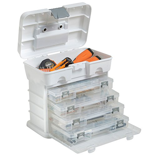 VonHaus Small Utility Tool Storage Box - Portable Arts Crafts, Tackle Box, Small Parts Organizer Case with 4 Drawers and Adjustable Dividers (10.9 x 10.1 x 6.9 inches - White Clear) Small Item Storage