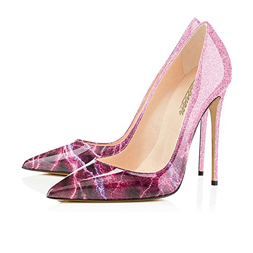 Slip Pointy Party Shoes Red Heels Modemoven High Size Pumps Toe Large Lightning Evening Stilettos On Women's Wedding S5P66qX