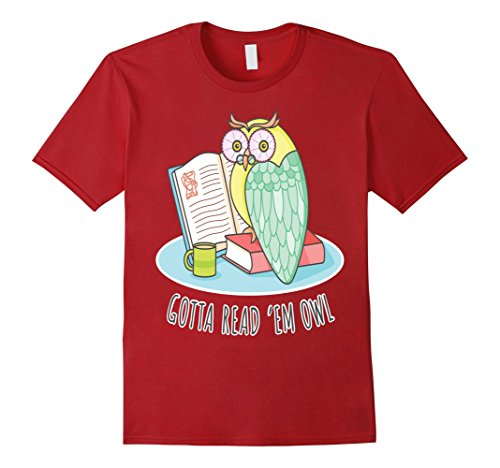 Men's Reading owl book T-shirt teacher  nerd lover idea tee gift XL Cranberry