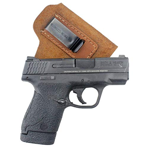 Relentless Tactical The Ultimate Suede Leather IWB Holster - Made in USA - Fits S&W M&P Shield - Glock 17 19 22 23 32 33 / Springfield XD & XDS/Walther P99 & All Similar Handguns - Brown RH