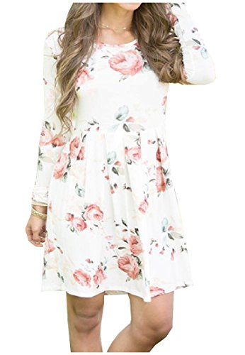 Dresses White Scoop Women Tunic Floral Up Coolred sleeve Autumn Top Drape Long qvnPaS