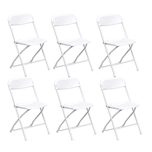 6 Pack Folding Chair Commercial White Plastic Fold Chair 300 lbs Weight Capacity for Events, Premium Lifetime Fold Up Chair Portable 18 L x 18 W x 31 H