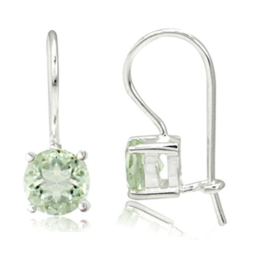 (1.4ct. 6MM Natural Round Shape Green Amethyst 925 Sterling Silver Closure Hook Earrings)