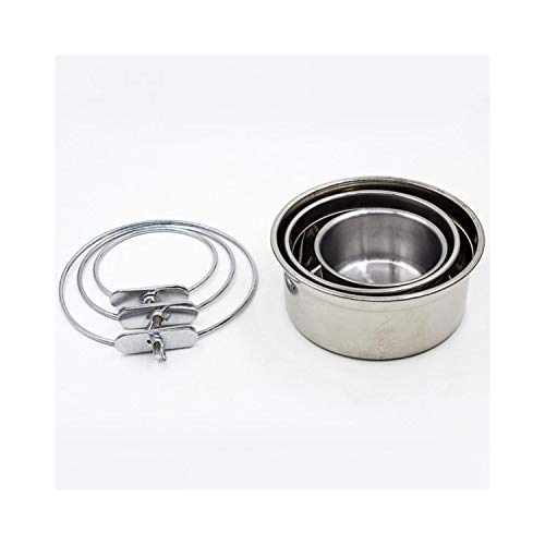 PEHTEN Stainless Steel Hanging Pet Bowl On Cages Single Accessory for Dogs Feeding & Watering Supplies S M L Sizes Silver L