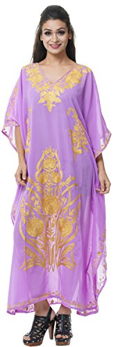 Georgette Caftan (Odishabazaar Womens Georgette Kashmiri Kaftan Maxi Beach Wear Caftan Evening Dress (#30))