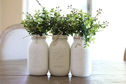 Mason Canning JARS Centerpiece with 3 Ball Pint OR Quart Jars - Kitchen Table Decor - Distressed Rustic - Flowers (Optional) - Painted -