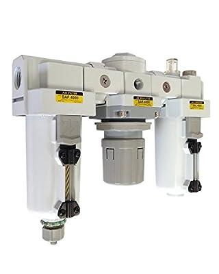 "PneumaticPlus SAU4000M-N04G-MEP Three-Unit Compressed Air Filter Regulator Lubricator Combo FRL, Air Preparation Unit 1/2"" NPT - Manual Drain, Metal Bowl, 10 Micron with Gauge"