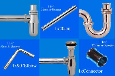 Plug Fittings Waste Pipes Chrome Bathroom Basin Sink Bottle 1 1//4 inch Connection Outlet Pipe Length 20cmTrap Syphon Strainer