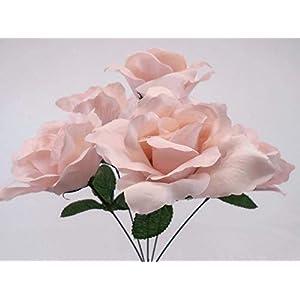 "Phoenix Silk 4 Bushes Jumbo Open Rose 5 Artificial Silk Flowers 15"" Bouquet 609 21"