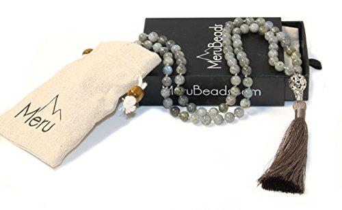 Premium Labradorite Mala Beads Necklace - 108 Mala Beads 8mm - Japa Mala Beads - Mala Beads for Women - Tibetan Mala Beads - Buddhist Mala Beads - Labradorite Necklace - Mala Beads for Men