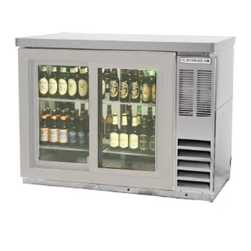 Beverage Air BB48GSY-1-S-27 Standard Depth Glass Sliding Door Back Bar Cooler in Stainless Steel w/Stainless Steel Top