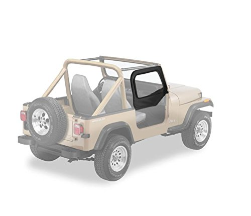 Bestop 53121-35 Black Diamond Fabric Replacement Upper Door Skin Set for 1997-2006 Wrangler TJ ()