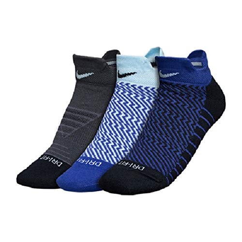 buy popular 6aeec ec088 Nike Women`s Dry Cushion Graphic Low Training Socks (3 Pair) (Multicolor