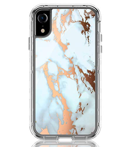 BAISRKE Shiny Rose Gold White Marble Design Clear Bumper Matte TPU Soft Rubber Silicone Cover Phone Case Compatible with iPhone XR 2018 [6.1 inch]
