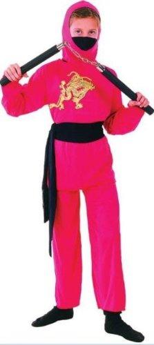 Kids Ninja Costume Uk (Red Ninja 4pc Childs Fancy Dress Costume - Size M 134cms)