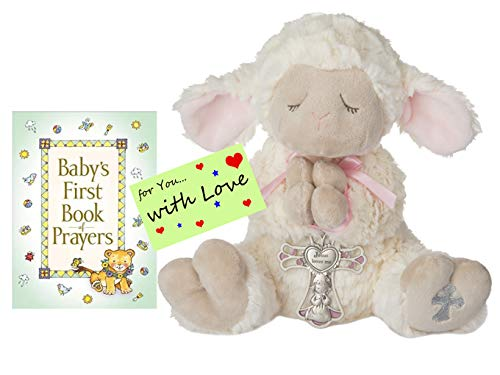 (Baptism Christening Gifts for Girls Pink Serenity Lamb w/Crib Cross and Baby's First Book of Prayers w/Gift tag)